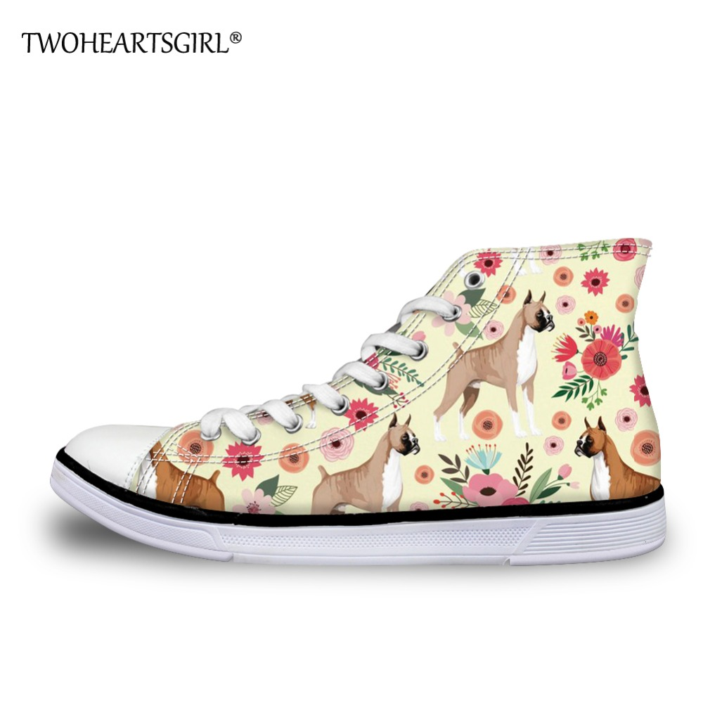 Twoheartsgirl High Top Canvas Shoes for Women Boxer Prints Casual Teens Girls Vulcanized Shoes Classic Lace Up Flat Canvas Shoes hot sale 2016 top quality brand shoes for men fashion casual shoes teenagers flat walking shoes high top canvas shoes zatapos