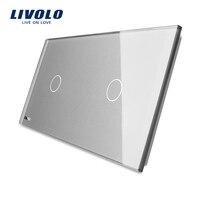 Livolo Luxury Grey Pearl Crystal Glass 151mm 80mm EU Standard Double Glass Panel VL C7 C1
