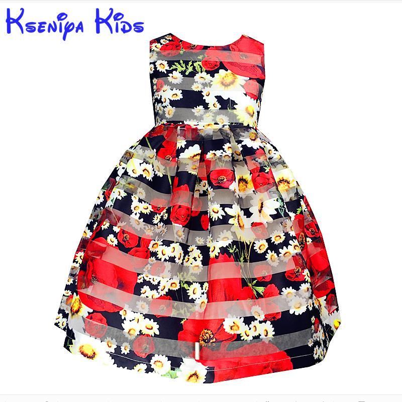 Kseniya Kids Toddler Girl Dresses 2017 Brand New Princess Dress Summer Little Girl Dress Sleeveless Floral Girls Costume 2-10y kseniya kids new summer children baby
