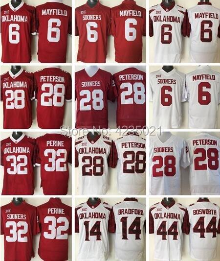 Mens 6 Baker Mayfield 32 Samaje Perine 28 Adrian Peterson 44 Brian Bosworth College Football Jerseys cosido