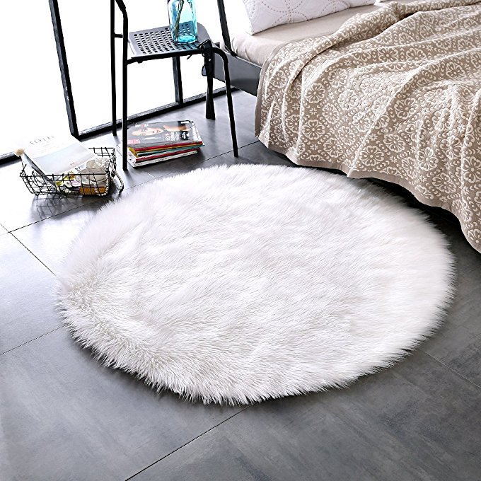 Hairy RoundCarpet Sheepskin Chair Cover Soft Bedroom Faux