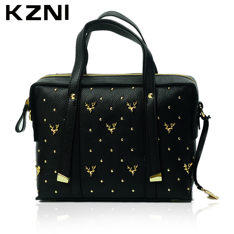 KZNI Female Bags Leather Genuine Handbags Women Top-Handle Crossbody Shoulder Clutch Bags for Girls Purses and Handbags 1331 kzni genuine leather luxury handbags women bags designer top handle bags for women 2017 purses and handbags sac a main 1416