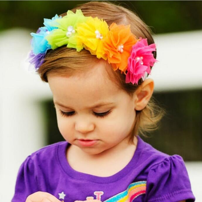 TWDVS Rainbow-like beauty Kids Flower Headband  Newborn Ring Flower Hair Elastic Band Headwear Kids Head Accessories  W254 hot sale hair accessories headband styling tools acessorios hair band hair ring wholesale hair rope