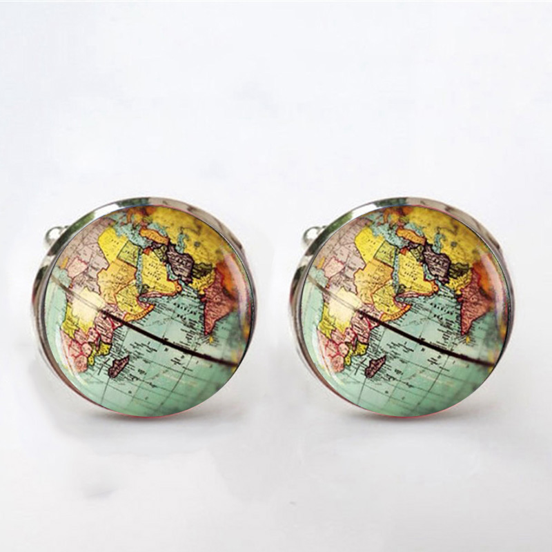 Vintage Earth World Map Cufflinks Globe Planet Art Photo Crystal Glass Dome Shirt Cuff Links For Men Jewelry Accessories