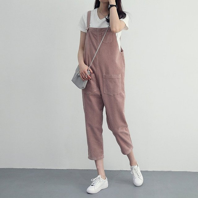 86e4235b6c6 Stylish Womens Corduroy Jumpsuit Spring Autumn Suspenders Trousers Women  Solid Color Pant Overalls For Female New