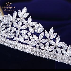 Image 5 - Bavoen Top Quality Brides Royal Sparkling Zircon Tiaras Crown Silver Crystal Hairbands Headpieces Wedding Hair Accessories