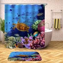 Tropical Fish Shower Curtain Undersea Turtle Waterproof Bath Curtains for Bathroom Bathtub Bathing Cover Large Wide 12pcs Hooks