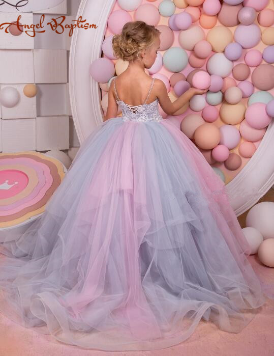 Sexy backless purple and pink laces tulle fairy dresses flower girl dress spaghetti kid pageant party gown with detachable train недорго, оригинальная цена