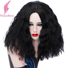 Yiyaobess 40CM Short Curly Wig Black White Golden Pink Red Synthetic Hair Woman Wigs Cosplay For Party High Temperature Fiber