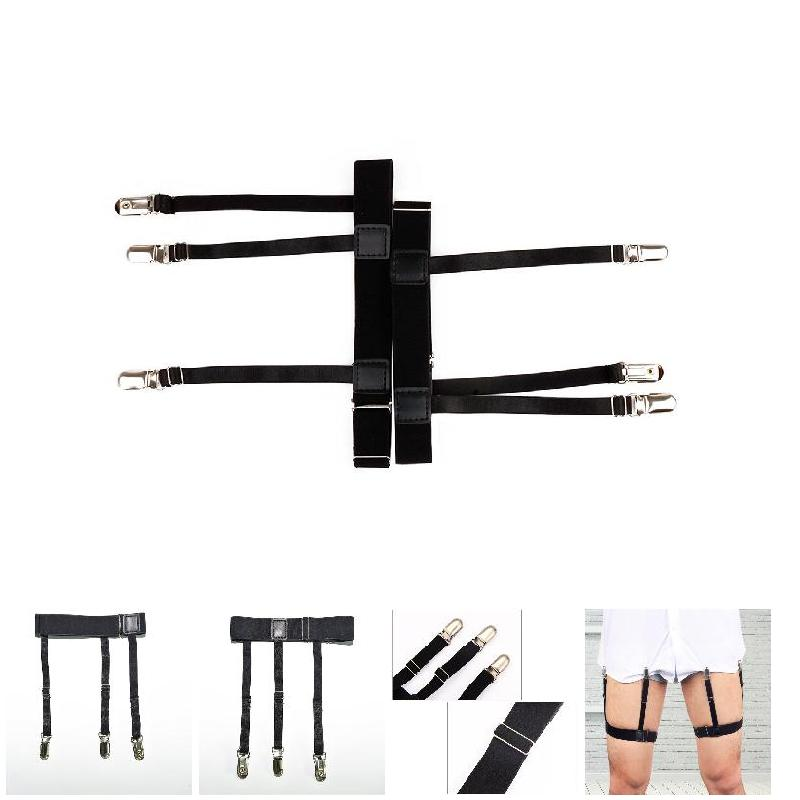 2019 Hot 2 Pcs Men Shirt Stays Belt With Non-slip Locking Clips Keep Shirt Tucked Leg Thigh Suspender Garters Strap MSK66
