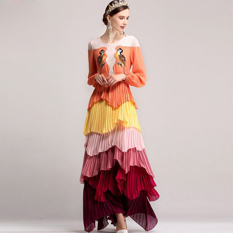2016 European And American Shows Irregular Layers Of Pleated Lace Dress Embroidered Bird Manual Nail Drill