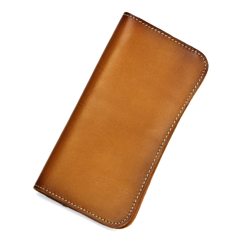 Vintage Genuine Leather Women Wallets Female Coin Purse Phone Wallet Bag Long Clutch Card Holder Vegetable Tanned Leather L107 luxury brand vintage handmade genuine vegetable tanned cow leather men women long zipper wallet purse wallets clutch bag for man