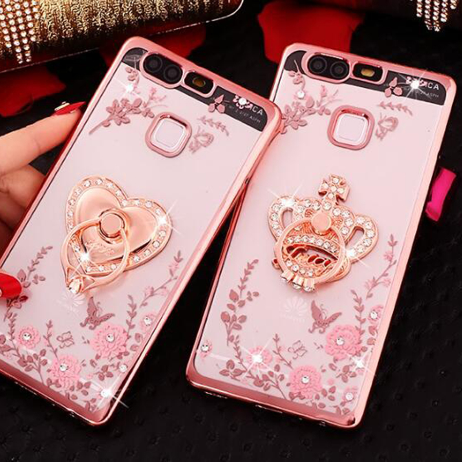 Ring Grip Lace Flower Pattern <font><b>Carcasas</b></font> Fundas For <font><b>Huawei</b></font> <font><b>Y6</b></font> II 2 P8 Lite <font><b>2017</b></font> Nova Honor 8 Lite P9 P10 Plus 4A 5A Phone Cases image