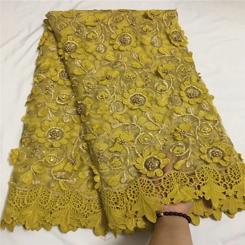 Most popular yellow african tulle lace fabrics with beads high quality french guipure mesh lace fabric