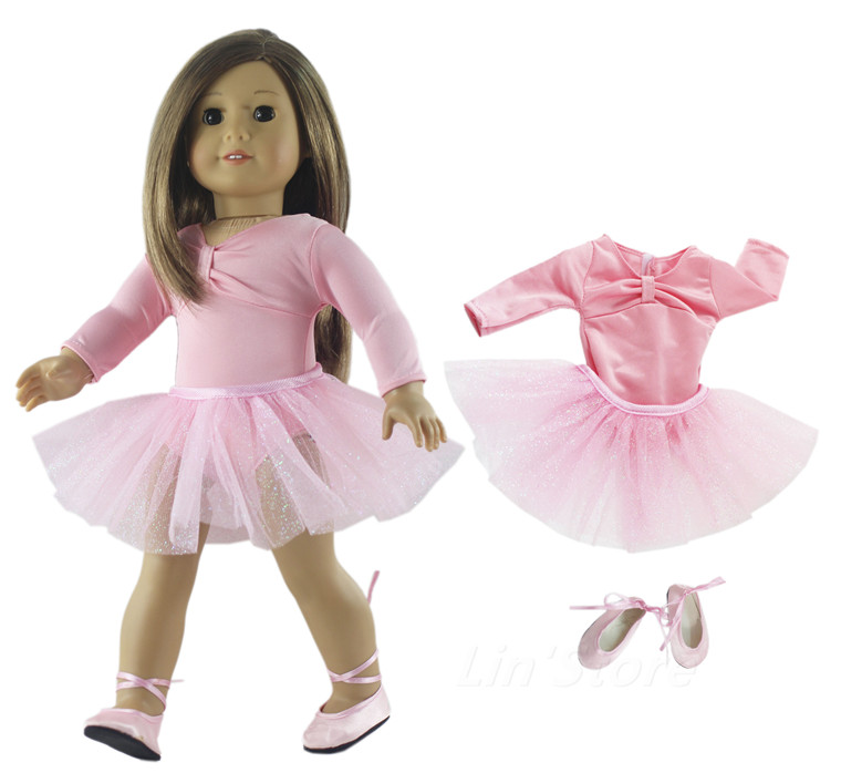 """Pink Doll Clothes Dress Tutu Ballet Skirt Outfit For 18/"""" inch American Girl Doll"""
