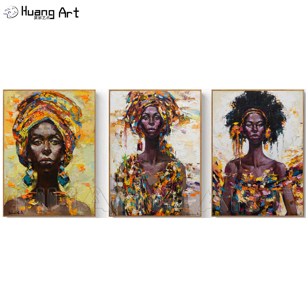 African Woman Portrait Oil Painting on Canvas Scandinavian Figure Art Wall Picture for Living Room Knife Abstract Face Painting