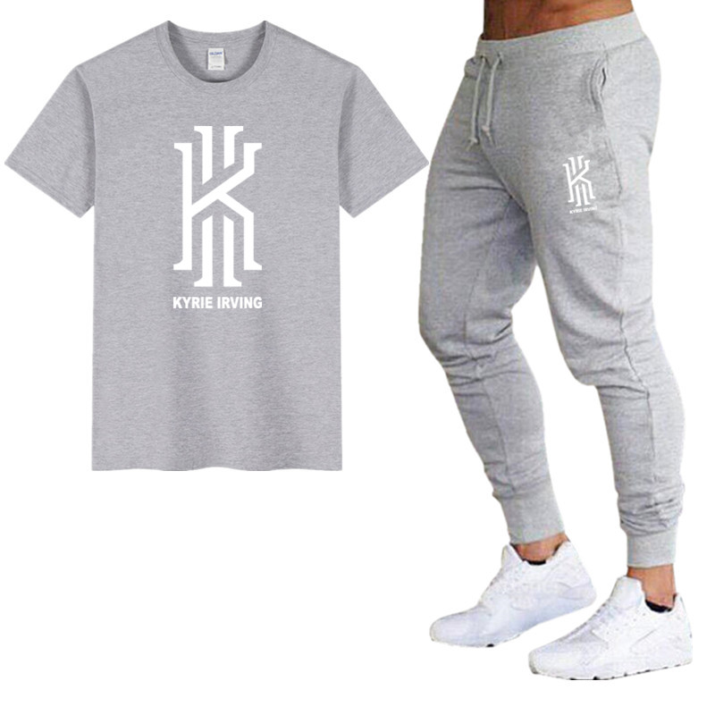 Brand Mens   T     Shirt  +Trousers Suit Fashion Kyrie Irving   T     shirt   100% Cotton Summer Short Sleeve Tee   Shirt   Homme Tracksuit Suit