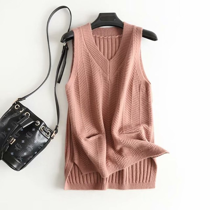 Faux Cashmere Knitted White Women's Vest 2020 New Spring Solid Pocket Sleeveless Jacket Female Sweater Waistcoat Gilet Femme