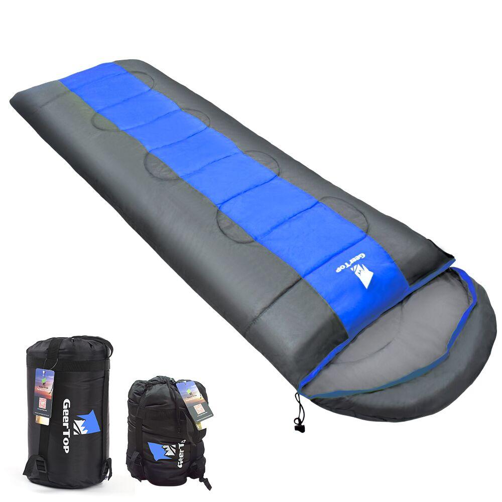 GeerTop ultraligero saco de dormir para acampar abajo lleno impermeable pelusa bolsas de dormir con la compresión de turismo de invierno para adultos Foco portátil de 50W 3 modos LED luz de trabajo recargable 18650 36 LED lámpara de exterior para caza Camping linterna lateral d25