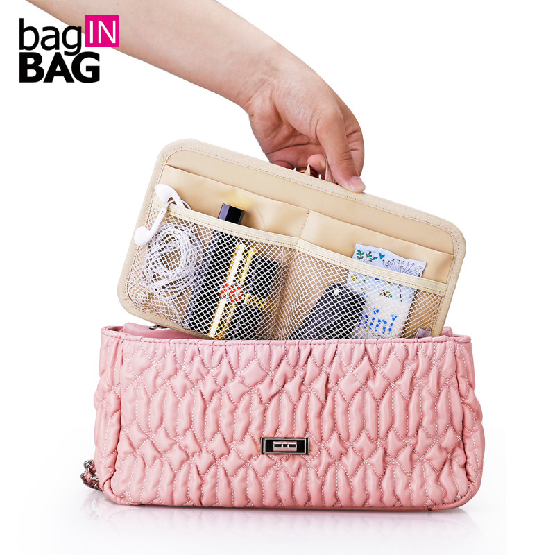 2016 High Quality Nylon Cosmetic Bag Women Insert Handbag Organizer Make Up Bag Pad Storage Plate