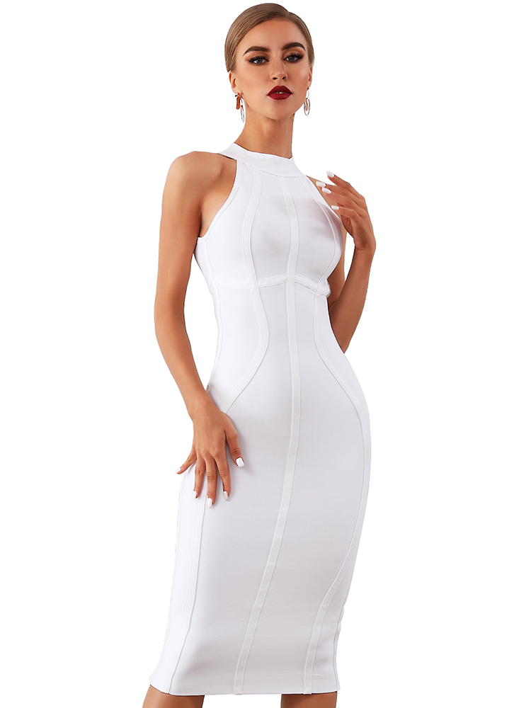 Bandage Dress Tank Celebrity Club Runway Vestidos Bodycon Elegant Sexy White Women Summer