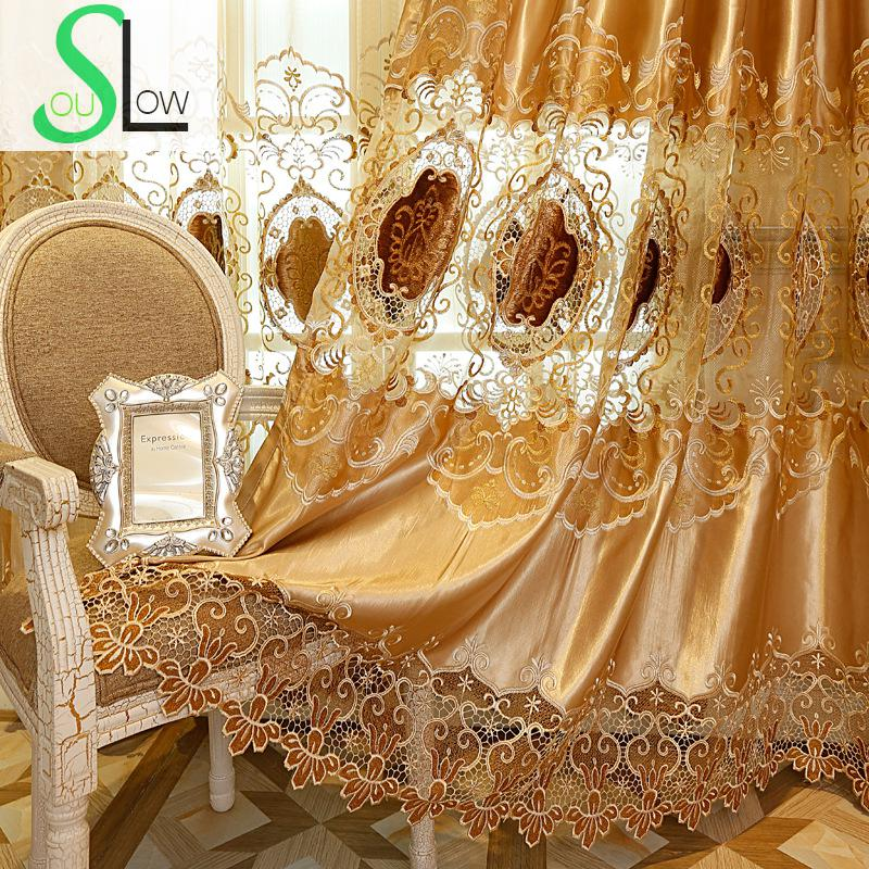 Silk Cloth Curtain Home Furnishing New Water Soluble Embroidered Bedroom Living Room Curtains French Window Luxury