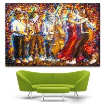 Large printed painting Rain Street dancing Oil Painting On Canvas Palette Knie Wall Picture For Home Decoration Wall Deco(China)