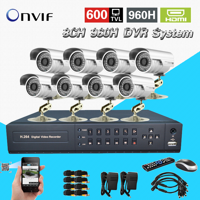 TEATE Security 8ch CCTV 600TVL Waterproof Outdoor Camera Network full 960H D1 DVR Recorder 8ch Video System DVR Kit CK-246