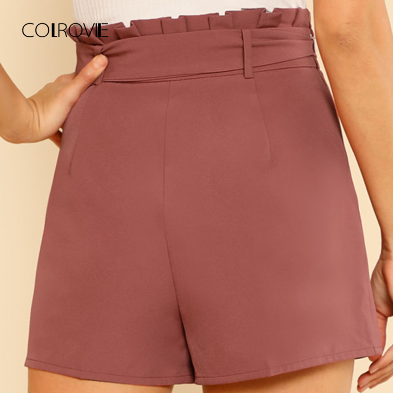 COLROVIE Tie Front Pleated Waist Shorts 2018 New High Waist Zipper Fly Elegant Shorts Summer Wide Leg Plain Woman Bottom 1