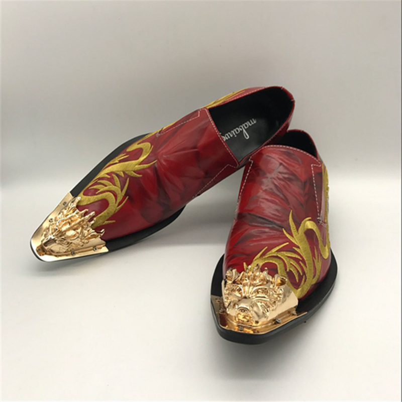 da9290435f4 Mabaiwan New Red Wedding Shoes Men Oxfords Fashion Gold Dragon Embroidery  Zapatos Hombre Genuine Leather Mens. sku  32737123748