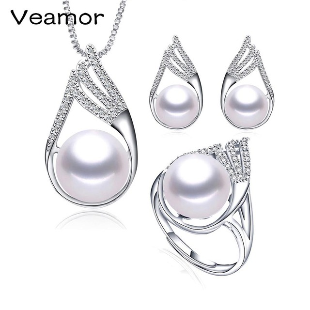 VEAMOR Simple Crystal Freshwater Pearl Jewelry Sets Fashion Punk style Choker Necklace Earrings Bridal Jewelry Sets for Women