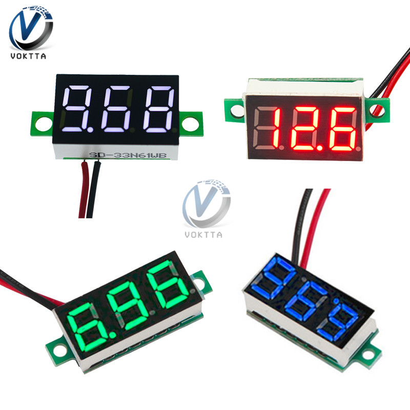 Mini 0.36 Inch 0.36'' DC 4.7-32V 3 Digit Display Voltmeter Red/Blue/Gree/White Mini LED Digital Panel Volt Voltage Meter Tester