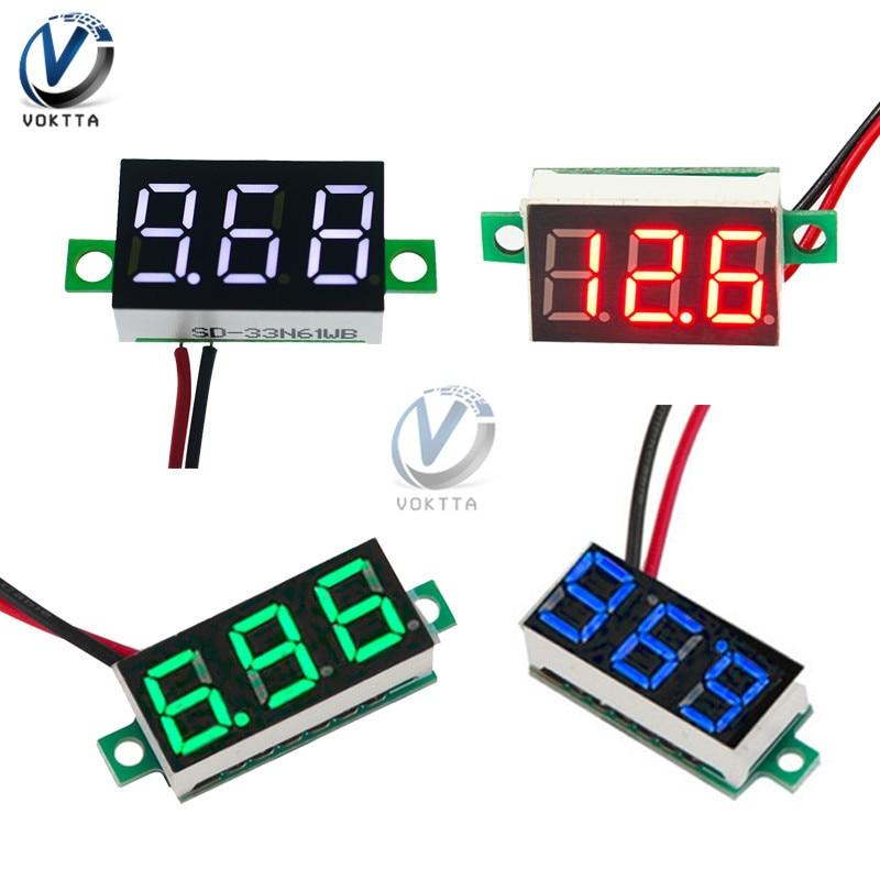 Mini 0.36 Inch 0.36'' DC 4.7-32V 3 Digit Display Voltmeter Red/Blue/Gree/White Mini LED Digital Panel Volt Voltage Meter Tester