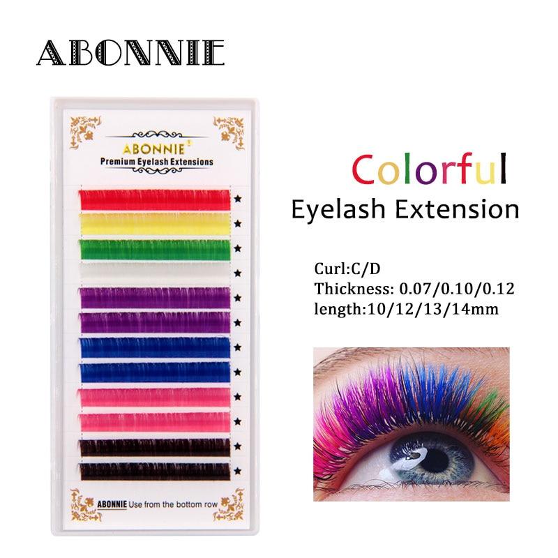 Abonnie 12 fileiras/bandeja, 8 cores, arco-íris colorido cílios extensão, falso vison cor cílios, colorido cílios extensão