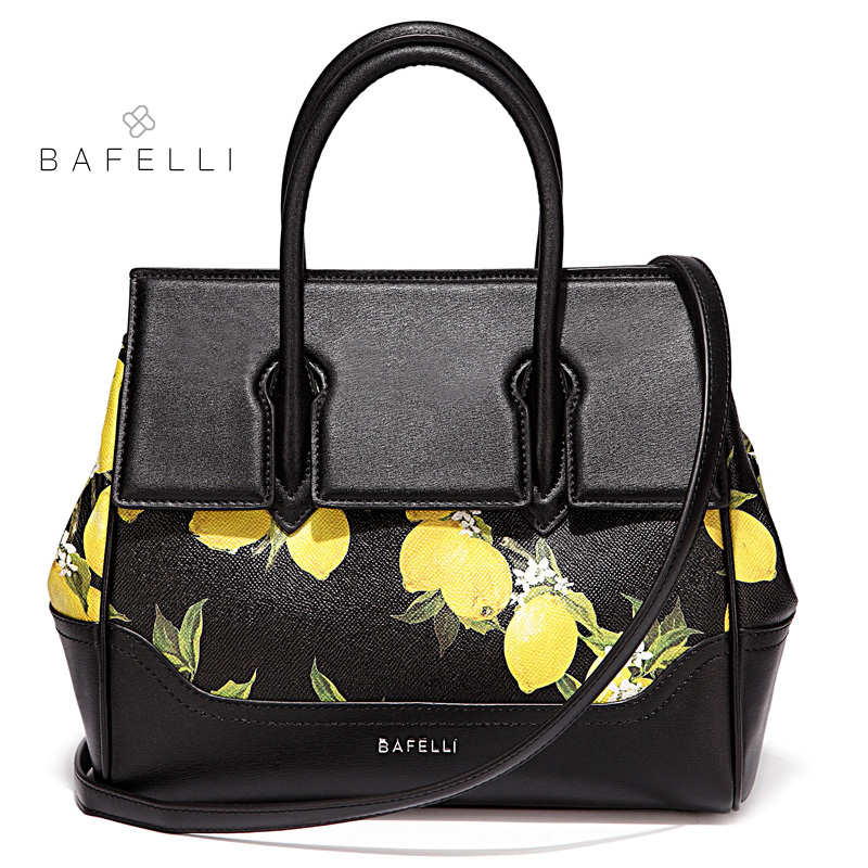BAFELLI split leather lemon printing Briefcases spring bolsa feminina black bags handbags women famous brands bag цена и фото