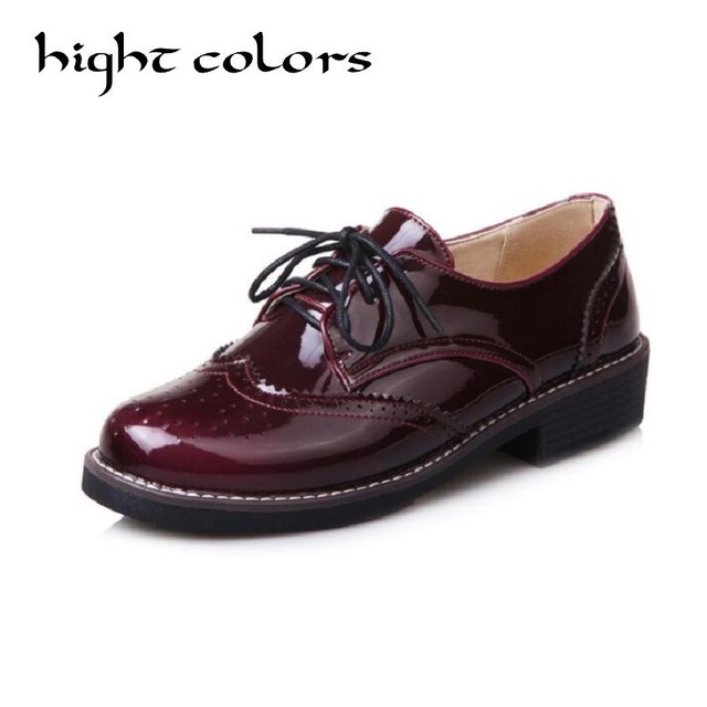 5571cfb81bdb Female Comfortable Low-Heeled Flat Casual Shoes US4-10 Brogue Women Lace Up  Wing Tip Oxford College Style Flat Shoes New 3Colors