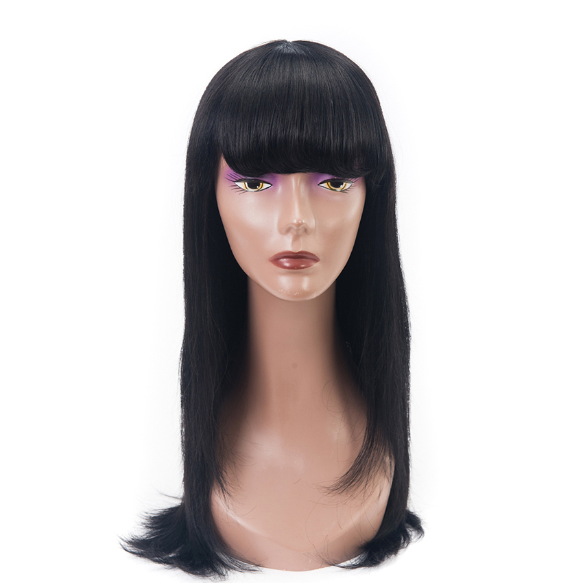 Straight Human Hair Wigs For Women Brazilian Hair Non Lace Wig With Bangs #1B Remy