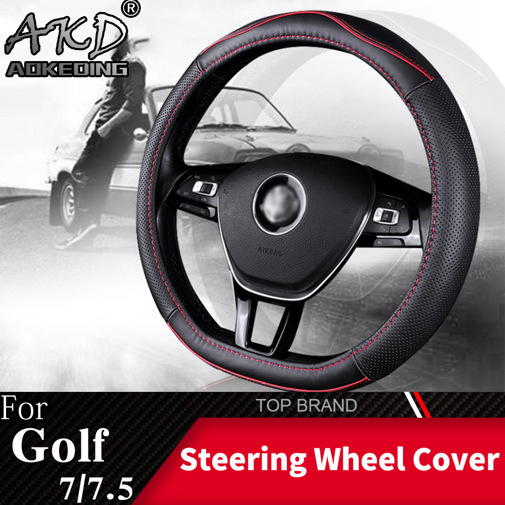 For Volkswagen Golf7/7.5 Sports Style Steering Wheel Cover Skidproof Auto Steering- wheel Cover Anti-Slip Leather Car-styling