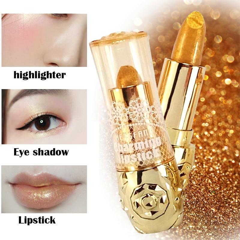Multi-functional Moisturizer Long Lasting Sexy Pigment Gold Lipstick Shimmer Lips Brighten Luxury Matte Lipstick Cosmetics