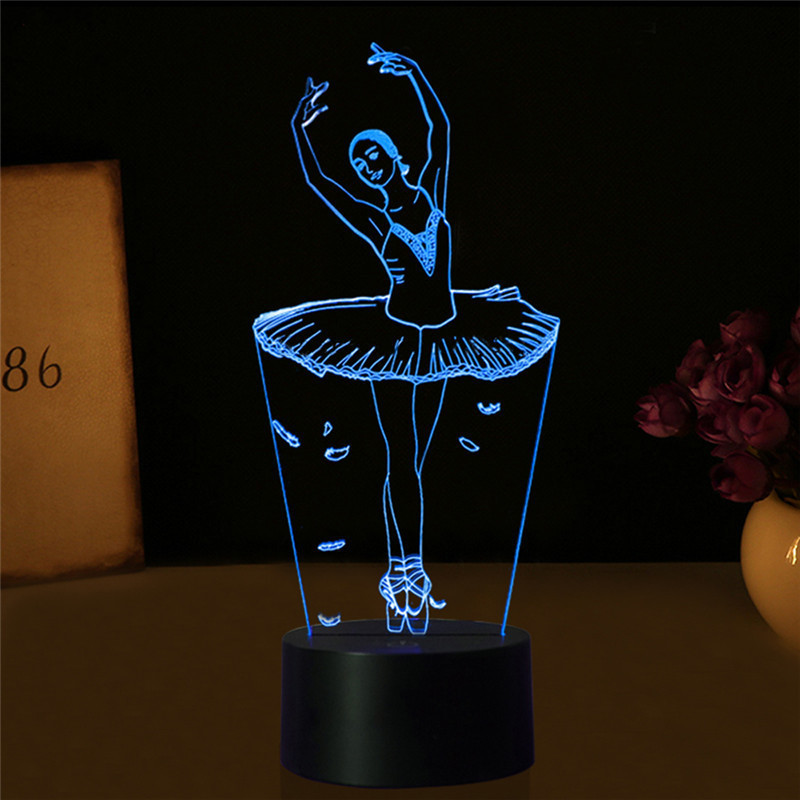 3D Illusion Lamp Ballet Girl LED USB 3D Night Lights 7 Colors Flashing Novelty LED Table lamp as Kids Bedside Decorations led 3d illusion acrylic lamp figure skating model nightlight touch switch 7 colors bedside table lamp