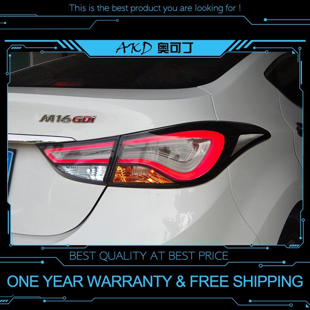 AKD tuning auto luci di Coda Per Hyundai Elantra 2014 Fanali Posteriori A LED DRL Corsa e Jogging luci di Nebbia luci occhi di angelo Posteriore di parcheggio luci