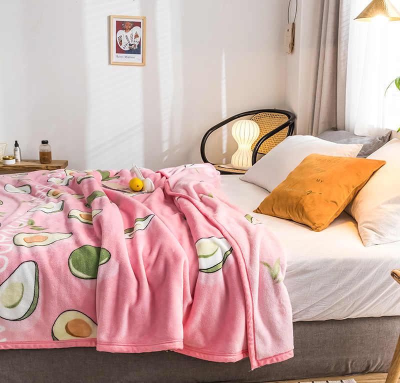 Abacate de Alta qualidade Engrossar colcha de pelúcia cobertor 200x230 cm Alta Densidade Cobertor de Flanela Super Macio para o sofá /cama/Carro