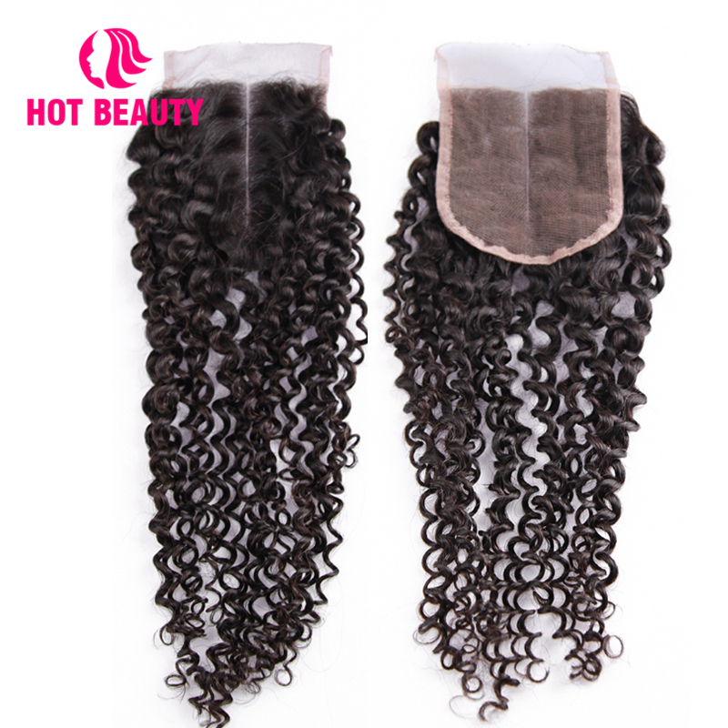 Hot Beauty Hair Brazilian Kinky Curly Closure Free/Middle/Three Part Remy Human Hair 4X4 inch Natural Color Lace Closure