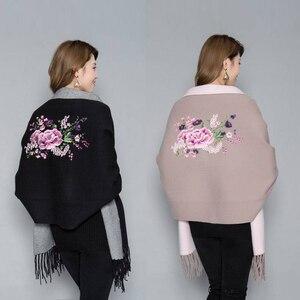 Image 5 - Женское пончо с вышивкой, теплое плотное пончо большого размера, мягкое уличное пончо высокого качества для осени и зимы