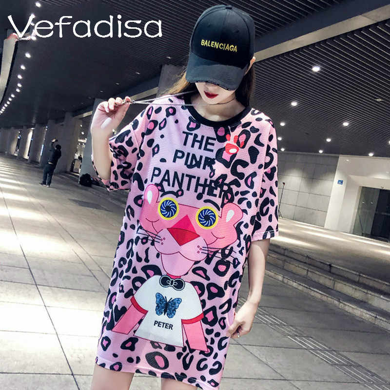 Vefadisa Women Pink Panther Pattern Dress Women Leopard Print Dress Women Casual T Shirt Dress 2019 ZQY036A