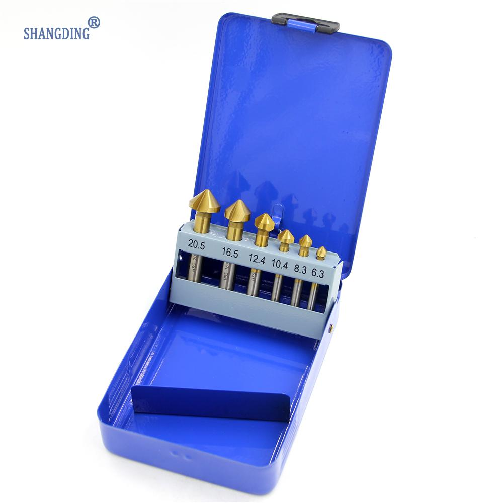 цена на straight shank 6pcs/Set 3 Flute HSS Hard Metals Titanium Three Edge Chamfer Chamfering Cutter Countersink Drill Bit in Tin box