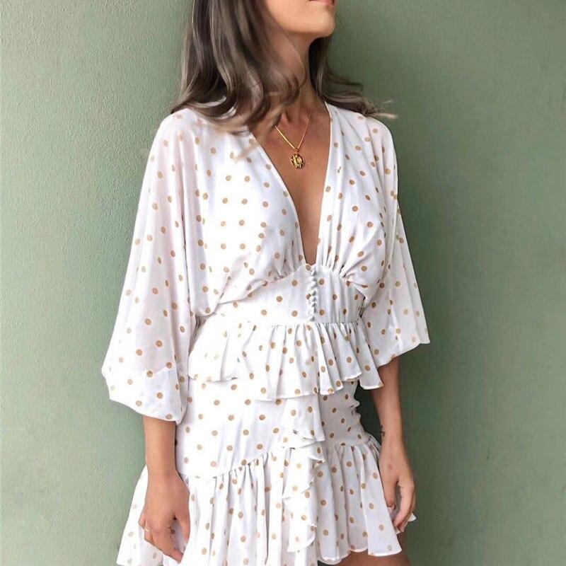 2019 mode blanc vague Point v-cou Sexy taille minceur à volants courte robe vêtements robe femmes élégante robe blanche