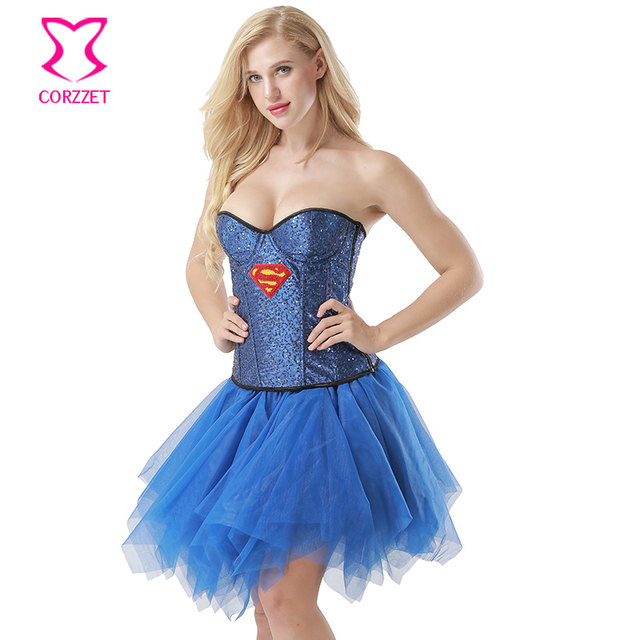 Blue Sequined Sexy Superwoman Costume Burlesque Tutu Fancy Dress Halloween Carnival Party Gothic Corset Skirt Set Dance Clubwear  sc 1 st  Aliexpress & Online Shop Blue Sequined Sexy Superwoman Costume Burlesque Tutu ...