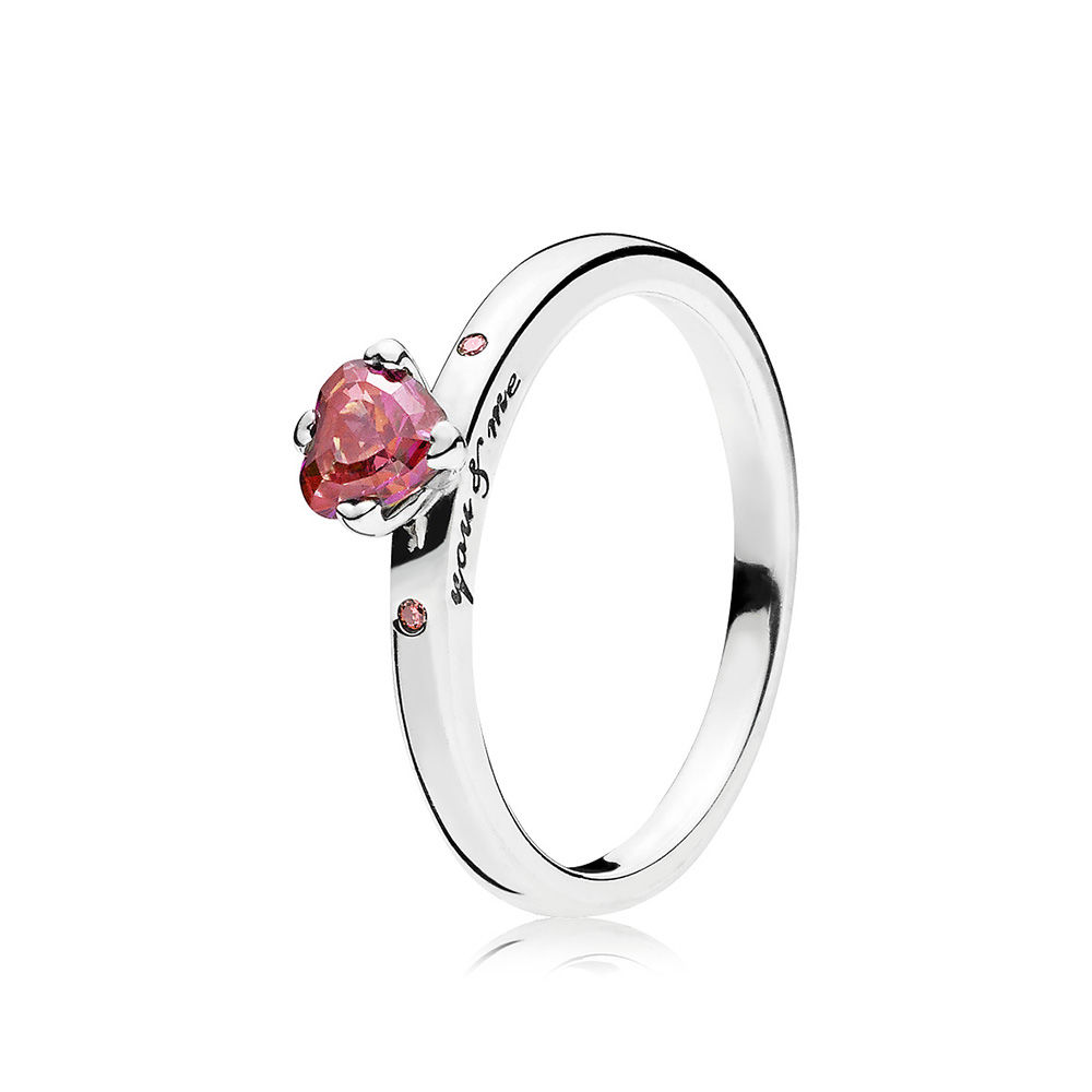 Hot Love gifts Real 925 Sterling Silver Marguerite Ring Fleur Rose Blanc Radiant Coeurs Anneau Clair Fit brand fine jewelry logo