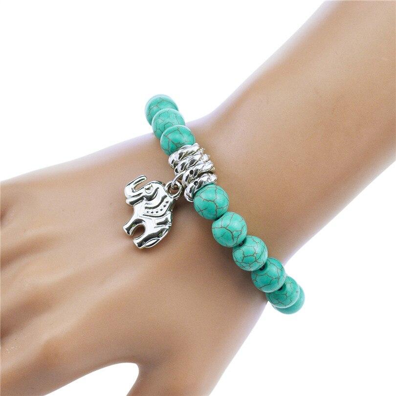 Thaïlande argent pendentifs éléphants bracelets naturel perles élastique  réglable femmes chanceux bracelets amulettes accessoires de mode